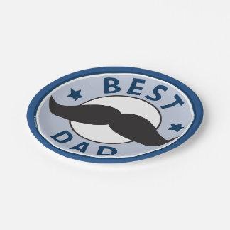 Las mejores placas del día de padres del bigote plato de papel de 7 pulgadas