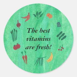 Las mejores vitaminas son pegatinas del veggie de pegatina redonda