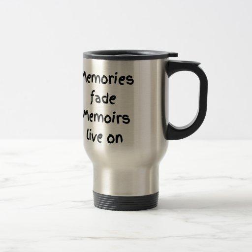 Las memorias se descoloran impresión negra viva de taza de viaje de acero inoxidable