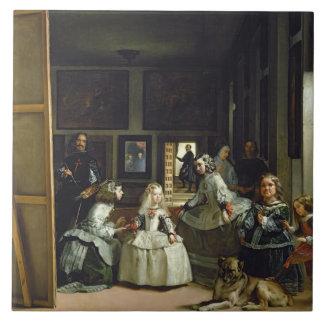 Las Meninas o la familia de Philip IV, c.1656 Azulejo Cuadrado Grande