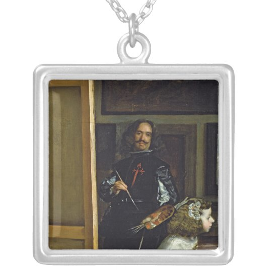 Las Meninas or The Family of Philip IV, c.1656 Silver Plated Necklace