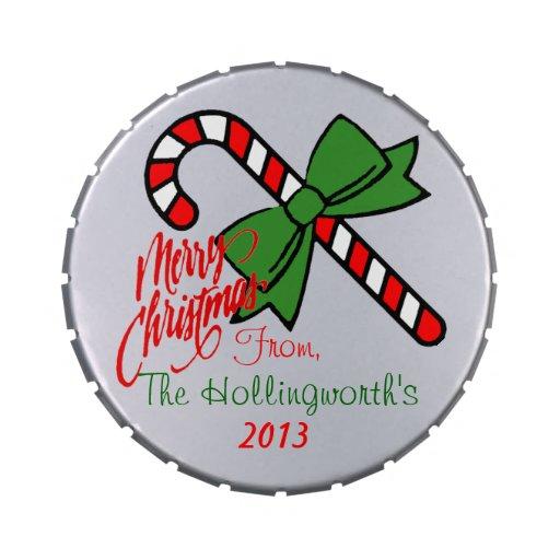 Las mentas de las Felices Navidad personalizaron Frascos De Caramelos