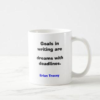 Las metas en la escritura son sueños con plazos taza