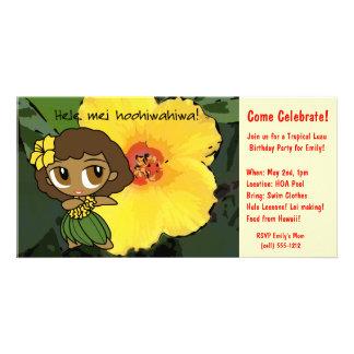 Las mieles Luau de la hawaiana invitan Tarjeta Con Foto Personalizada