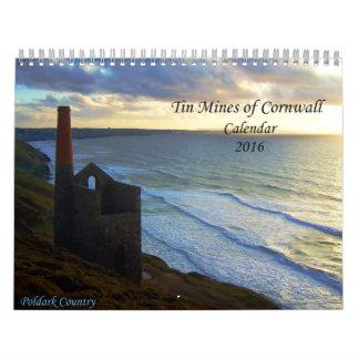 Las minas de lata de Cornualles fotografían el Calendario