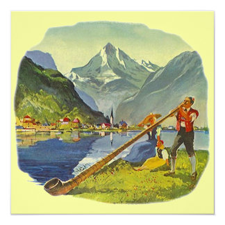 """Las montañas ALPHORN de OCTOBERFEST ANUNCIAN que Invitación 5.25"""" X 5.25"""""""