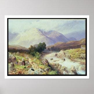 Las montañas, cerca de Argyle (w/c en el papel) Póster