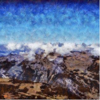 Las montañas de gastos indirectos llavero fotográfico