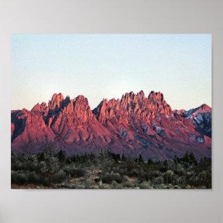 Las montañas del órgano doblan la puesta del sol 8 poster