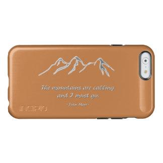 Las montañas están llamando la ventisca nevosa funda para iPhone 6 plus incipio feather shine