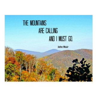 Las montañas están llamando y debo ir tarjeta postal