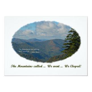 """Las montañas llamadas/nosotros Eloped anuncian y Invitación 5"""" X 7"""""""