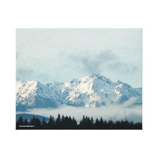 Las montañas olímpicas impresión en lienzo