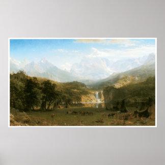 Las montañas rocosas, el pico 1863 del Lander Póster