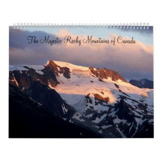 Las montañas rocosas majestuosas del calendario de