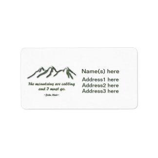 Las montañas son llamada/los mtns inclinados nieve etiqueta de dirección