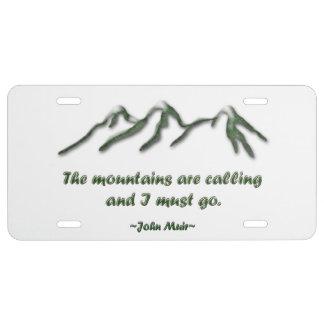 Las montañas son llamada/los mtns inclinados nieve placa de matrícula