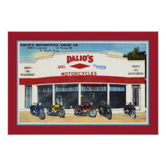 Las motocicletas Fort Worth de Dalio del vintage Posters