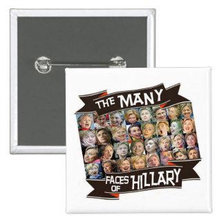 Las muchas caras de Hillary Pin Cuadrada 5 Cm