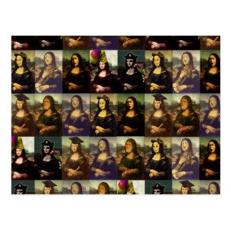 Las muchas caras de Mona Lisa Tarjeta Postal