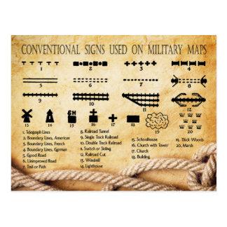 Las muestras convencionales usadas en militares tarjetas postales