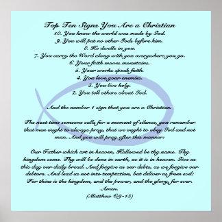 Las muestras del Top Ten usted es un cristiano Póster