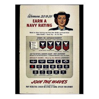 Las mujeres 20 a 36 ganan un grado de la marina de postal