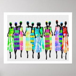 Las mujeres africanas colorearon diseño del lápiz poster