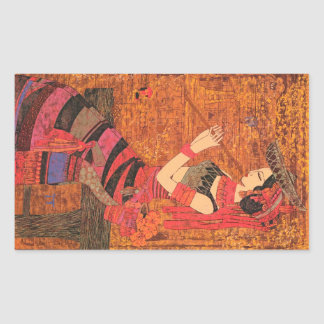 Las mujeres con la cintura florecen el arte de pegatina rectangular