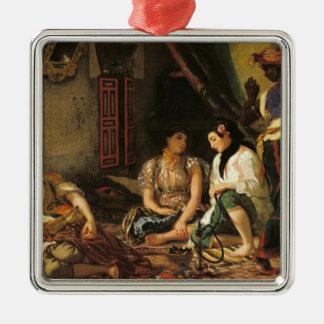 Las mujeres de Argel en su apartamento, 1834 Adorno Navideño Cuadrado De Metal