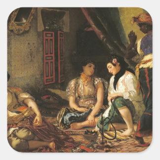 Las mujeres de Argel en su apartamento, 1834 Pegatina Cuadrada