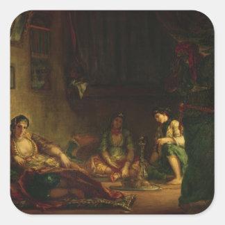 Las mujeres de Argel en su Harem, 1847-49 Pegatina Cuadrada