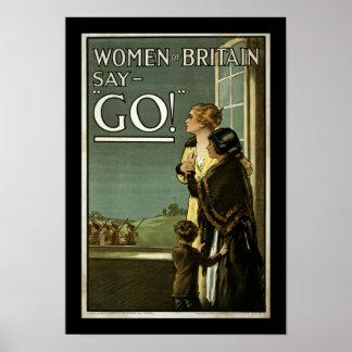 ¡Las mujeres de Gran Bretaña dicen VAN! (frontera) Póster
