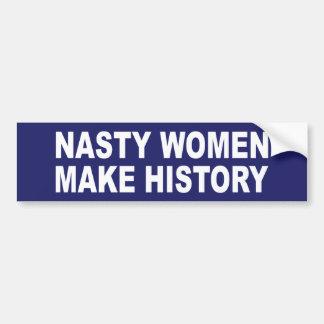 Las mujeres desagradables hacen historia pegatina para auto