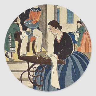 Las mujeres engancharon a modistería por Utagawa, Etiquetas Redondas
