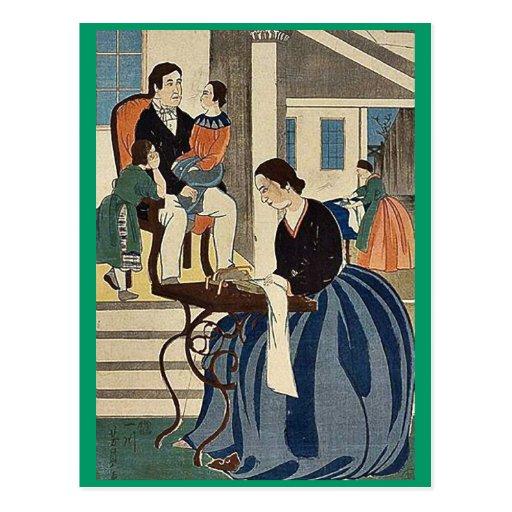 Las mujeres engancharon a modistería por Utagawa,  Postal