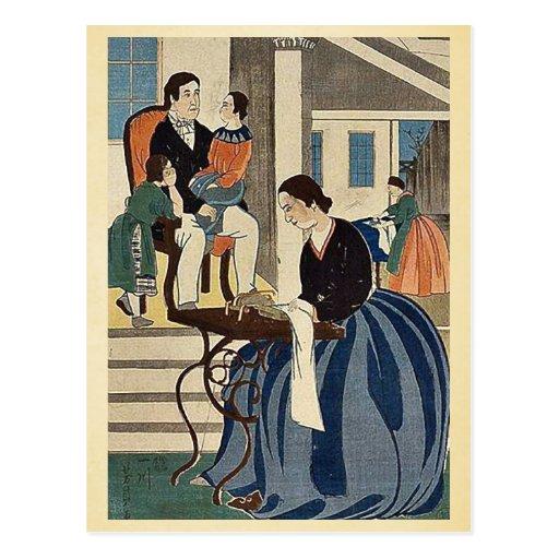 Las mujeres engancharon a modistería por Utagawa,  Tarjetas Postales
