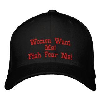 ¡Las mujeres me quieren! ¡Los pescados me temen! Gorras De Beisbol Bordadas