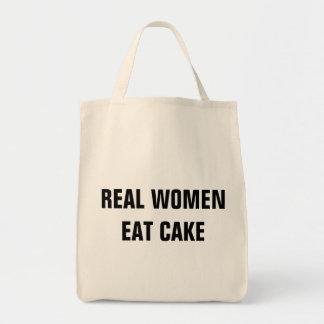 Las mujeres reales comen el tote del ultramarinos bolsa tela para la compra