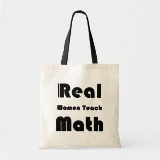Las mujeres reales enseñan a matemáticas bolsa lienzo