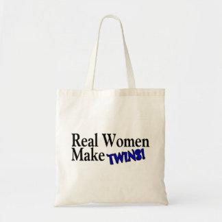 Las mujeres reales hacen a gemelos azules bolsa tela barata