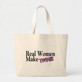 Las mujeres reales hacen a los gemelos (el rosa) bolsa tela grande