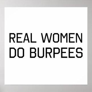Las mujeres reales hacen Burpees Impresiones