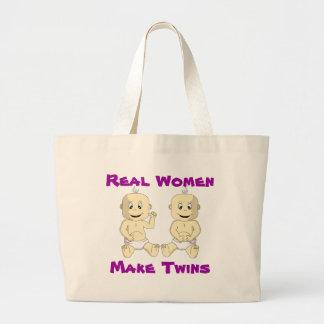 Las mujeres reales hacen los gemelos el bolso bolsa tela grande