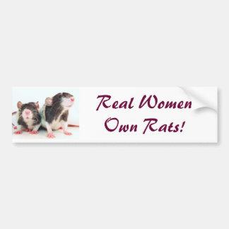 ¡Las mujeres reales poseen ratas! Etiqueta De Parachoque