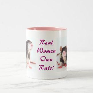 ¡Las mujeres reales poseen ratas! Taza Dos Tonos
