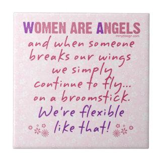 Las mujeres son ángeles azulejo cuadrado pequeño