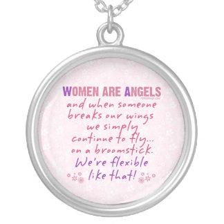Las mujeres son ángeles colgante redondo