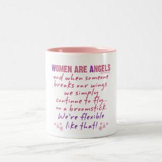 Las mujeres son ángeles taza de dos tonos