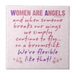 Las mujeres son ángeles teja cerámica